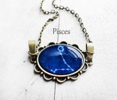 Handmade Resin Pisces Bronze Oval Necklace by crystaland