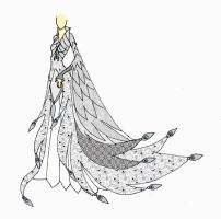 White Peacock Gown by ElvenButterfly