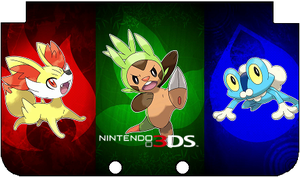 Nintendo 3DS XL Kalos Starters Faceplate by TheWolfBunny