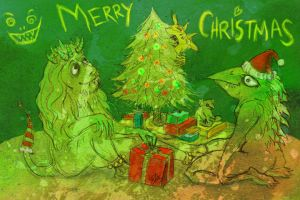 uh oh, cute christmas monsters by zyphryus