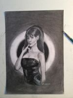 Anne Hathaway in charcoal and pencil by Jylm75