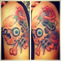 Skull and Roses Tattoo by RockabillyReese