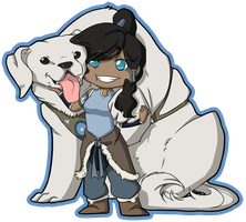 Korra and Naga by loverofscythe