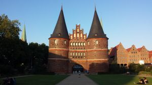 Holstentor at sunset by Arminius1871