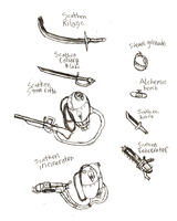 Scathenwheld Weaponry by IrateResearchers