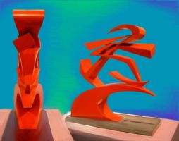 Red sculpture color study by richair