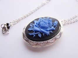 Blue Rose Locket Necklace by ms-pen