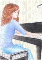Hermione playing by xLillyWonka