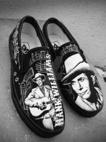 Hank Williams painted Vans for Chip by Vikrapuff