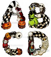 The Nightmare Before Christmas font (process) by Eilyn-Chan