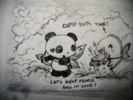 Dino and Panda Cupid Patrol by MelodicInterval