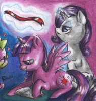 Twilight Sparkle and Rarity by FuriarossaAndMimma