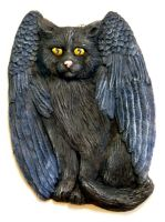 Black Winged Cat plaque by ladystonehawk