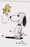 SNOOPY AND WOODSTOCK SKETCH CARD by shawncomicart