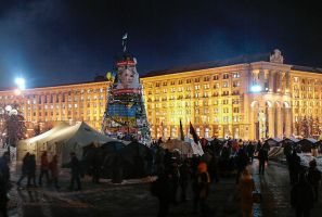 EuroMaidan rallies in Ukraine, Kiev, New Year tree by mariakovalchuk
