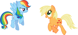 Rainbow Dash and Applejack by rolin11