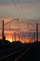Sunset on a railroad stock #4 by croicroga