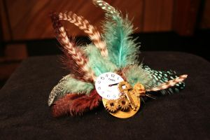 Key to time feathered Hair Barrette by KouranKiyo