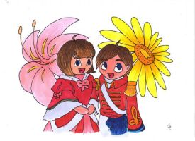The twin flowers - Coloured 2 by phersopiers