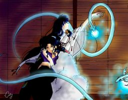 Naraku and Kikyo by AshleysCanvas