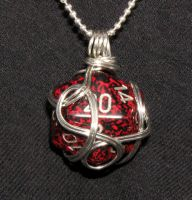 Wire Wrapped Red Speckled d20 by lavadragon
