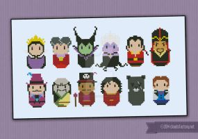 Mini People - Disney Villains cross stitch pattern by cloudsfactory