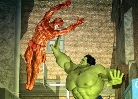 Hulk vs Daredevil by hiram67