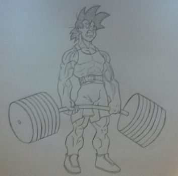 Just Goku bending bars. by strovecos