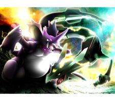Nidoking VS Rayquaza by cscdgnpry
