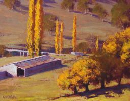 Autumn Farm Sheds by artsaus
