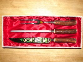 German Stag Horn Carving Set by FantasyStock