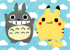 Totoro and Pikachu by lemonadepink