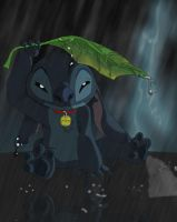 Stitch in the Rain by CavemanBoo