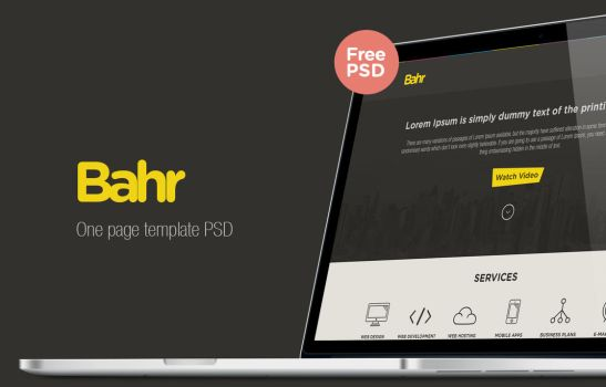 Bahr One Page Template PSD freebie by Ahmed3li