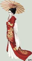 Red and Gold Geisha by isoldel