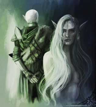 Inquisitor Lavellan and the Dread Wolf by Luh-Dwolf