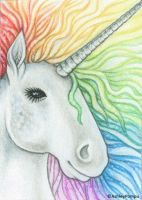 ACEO - Rainbow Unicorn by vashley