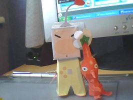 Paper Olimar and Pikmin by cazzyx3