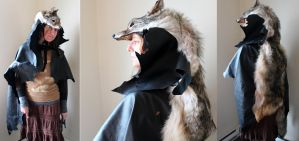 Coyote hide and deerskin cloak by lupagreenwolf