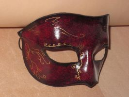 Gold and mahogany venitian leather domino mask by akinra-workshop
