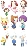 animal cross chibis 1 by drill-tail
