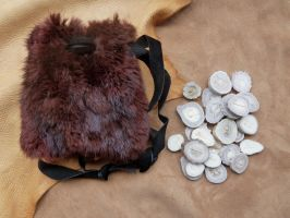 Runes with fur pouch by lupagreenwolf