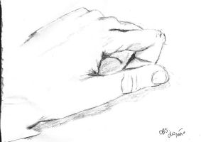 My hand - Observation drawing by bypri