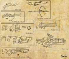 Steampunk magic weapons by Zip101