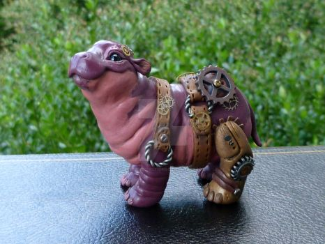 Steampunk baby hippo by MysticReflections