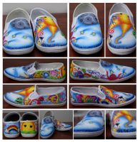 Custom Sun and Moon shoes by ShutterBug97
