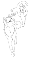 wolf and cat by raven-morticia