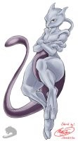 Mewtwo line art colored by MuddyTiger