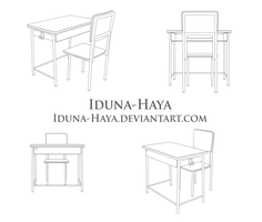 School Desk and Chair Various Angles by Iduna-Haya