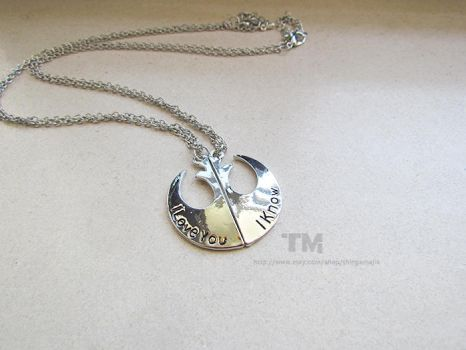Han and Leia - Star Wars Inspired Couple Necklace by thingamajik